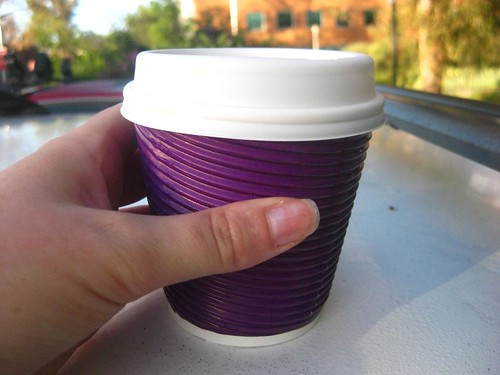 Soy latte from the Purple Pickle at ANU