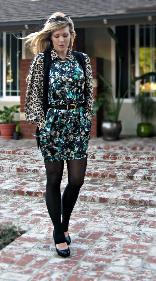 mixing floral and leopard prints, cynthia steffe silk dress+blouse+vest+tights+sunglasses+heels+shoes+print mixing
