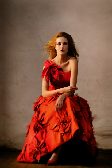 Couture Asian Bridal Fashion, Red Brides Dress. Photographed by Kent Johnson.