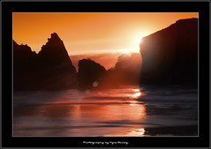 Canon Beach / Sunset / Oregon / Beach / Water /Ocean / Waves / Silhouette / Lens Flare / Light / Natural Light / Sun / Reflection / Kyle Bailey / Canon (Kyle Bailey - Da Big Cheeze) Tags: ocean sunset orange nature water silhouette oregon waves sunbeam canonbeach mywinners kylebailey rookiephoto dabigcheeze wwwrookiephotocom