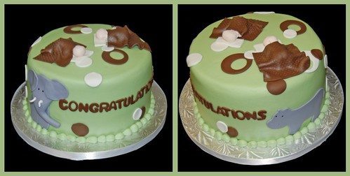 Elephant and Hippo baby shower cake for a Double baby shower celebration