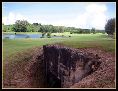 Golf Course Bunker (1) (back) (Saipan Pictures) Tags: world old golf soldier army island japanese bay war gun pacific wwii battle historic course bunker cannon tropical ww2 20mm battlefield northern tropics artifacts saipan marianas cnmi northernmarianaislands agingan