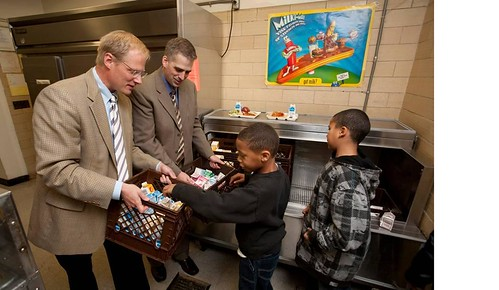 Drs. Brian Wansink (left) and David Just will head the new USDA-funded Cornell Center for Behavioral Economics in Child Nutrition Programs. The Center will help researchers, Food Service Directors and policy makers develop and implement sustainable, research-based strategies for guiding children to make healthy food choices at school. Researchers visit with  students at the Beverly J. Martin Elementary School in Ithaca, NY.