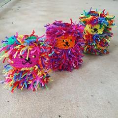 Three scrap cats (crochetbug13) Tags: crochet crocheted crocheting crochetcat crochetcats amigurumicat amigurumicats scrapcat scrapcats scrapyarn scrapyarncrochet crochettoy