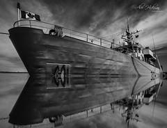 HMS MONCTON (Alec_Hickman) Tags: canada 150 blackandwhite noiretblanc reflection battleship warship navy royal water ocean sea harbour shediac newbrunswick sky clouds