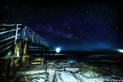 Midnight walk on the Matagorda Pier (Jay Dee Texas) Tags: matagordabay texasgulfcoast texas milkyway astrophotography nikond700 14mm rokinon gulfofmexico midnight serenity ocean boardwalk pier gulfcoast matagorda longexposure nightphotography stars