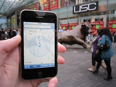 Geocaching (William Hook) Tags: me apple shop shopping google birmingham technology phone maps centre landmark bull 3g virtual geocache usc cache gps tuaw  bullring 3gs umts iphone agps 16gb