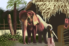 FGT! Week 13:  Elephants by Valerie Beeby (Blue Sky Day) Tags: art brushes fingerpainting iphone fgt elephantt