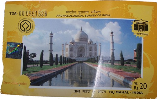 Entry ticket for the Taj mahal
