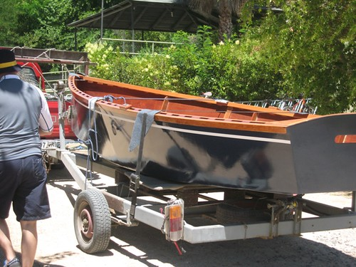 Boat is a great colour.  Sits on the trailer while family and friends gather.