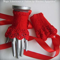 LOVE Victorian Inspired CUFFS/SPATS/NECKWARMER (ArtTiana{TianaCHE on Etsy}) Tags: wool fashion felted scarf beads hands crochet felt valentine gloves accessories cuff legwarmers valentinesday armwarmers fingerless loveaffair satinribbon scarflette neckcorset cottonthread merinoroving