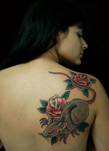 Flower And Mouse Tattoo At Hinder Woman