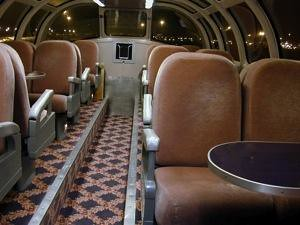 Private Rail Car - Silver Lariat, coach dining,dome at night