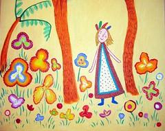 Garden of delights,detail, acrylic on panel. (Pogorita) Tags: door flowers art childhood garden painting acrylic naive childlike
