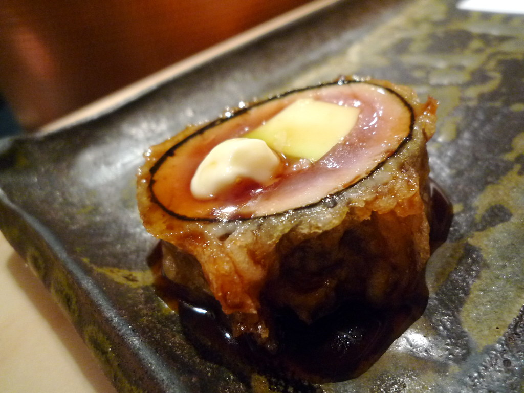 Tuna and avocado wrapped in nori with teriyaki sauce and kewpie mayo