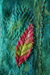 Embellisher leaf (jillyspoon) Tags: stitch handmade embroidery sewing sew textures textile stitched handstitched embellishing pinkandgreen scrim couching needlefelted frenchknots embellisher couched openweave machinestitched dyedscrim needlefeltubg