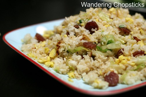 Fried Rice with Chinese Sausage, Eggs, and Lettuce 1