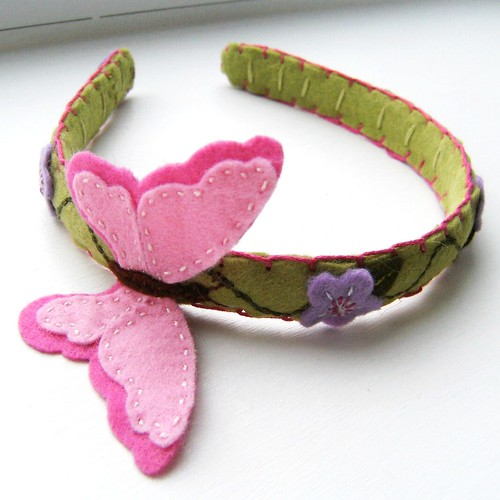 Butterfly Dreams Hair Band in Pink and Pale Green