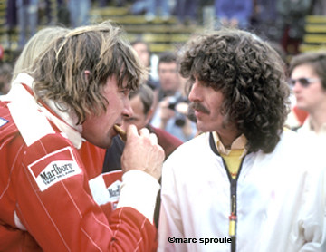 Reigning World Champion James Hunt and Beatle George Harrison. Long Beach F1 1977