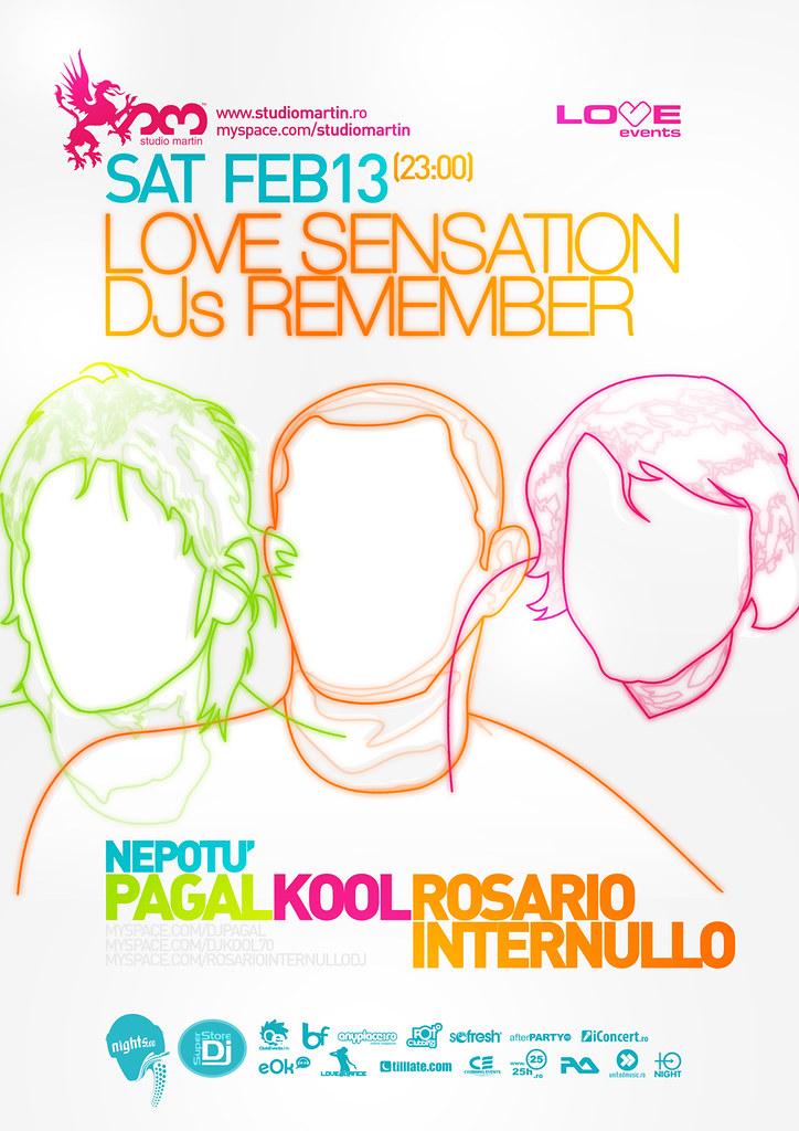 love sensation djs remember poster - kool, optick, pagal
