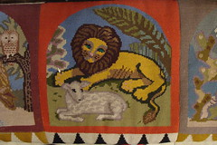 lamb and lion, embroidered kneeling cushion
