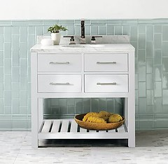Tiled Wainscoting (It's Great To Be Home) Tags: blue white vertical vintage tile vanity marble wainscoting subwaytile
