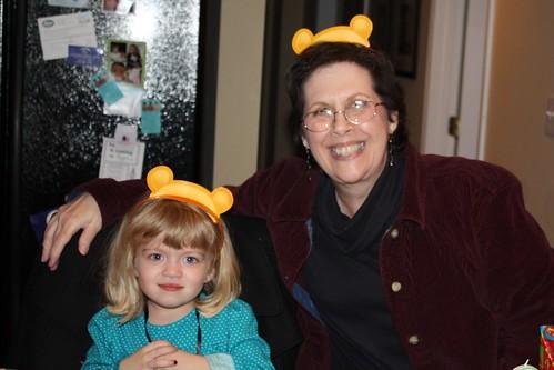 Catie & Mimi in Winnie the Pooh birthday hats