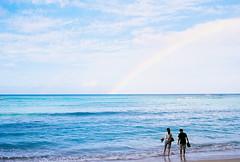 Waikiki Morning (stillsguy) Tags: morning beach hawaii couple fuji waikiki oahu contax reala silouhette t2 sonnar 38mm