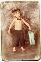 Young Adventurer (MissSmile) Tags: old boy cute vintage kid child framed creative retro luggage 3years suitcase textured misssmile