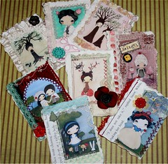 One of a Kind aceo's (the poppy tree) Tags: flowers tree bird art animal collage forest vintage print mixed media candy natural nest recycled lace buttons critter books deer story fabric cupcake fawn poppy fiber snowwhite aliceinwonderland handmadepaper