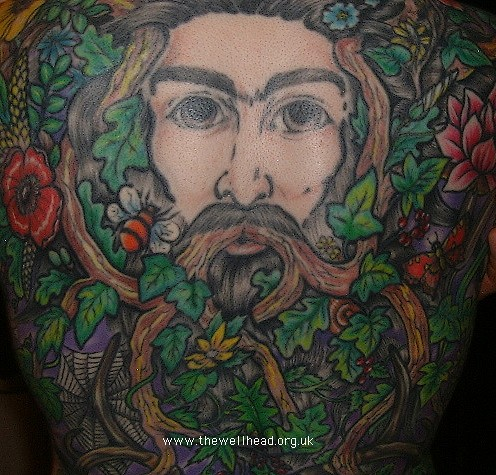 """Greenman"" tattoo - showing the upper half of the design: the Greenman"