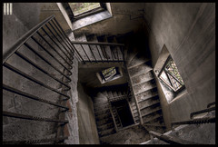 Look into the abyss (il COE) Tags: urban castle scale photoshop canon lights stair darkness decay creepy fisheye spooky abandon urbano luci 16mm castello abandonment hdr coe decayed decadence tromba buio urbex urb abbandono oscurità decadenza ringhiera photomatix