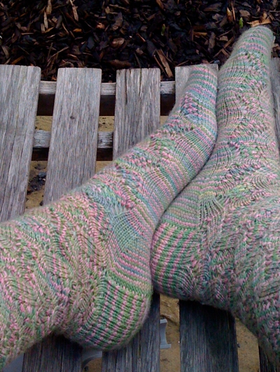 Spring Forward socks in Natural Dye Studio yarn, showing lovely sole-to-instep transition