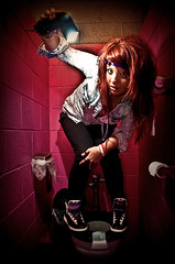 Courthead (Courthead Does Photography) Tags: pink red party hot girl shirt club hair bathroom photography nikon purple jean kentucky ky huntington jesus courtney toilet scene nike chick wv denim does ashland thompson vr leggings bullhead d90 strobist 18105mm sb900 courthead