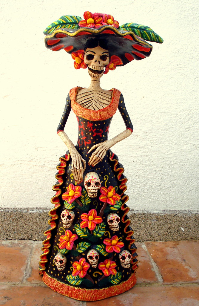 Vestidos de catrinas mexicanas elegantes de papel