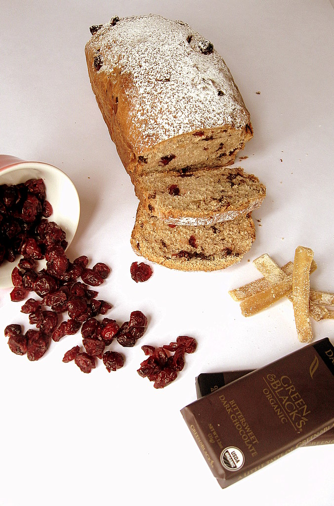 Bread + cranberries + citrus peel + chocolate