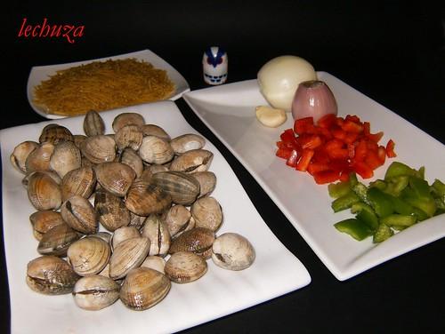 Fideos con almejas-ingredientes.