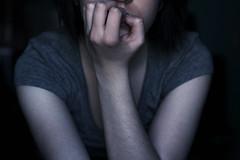161/365 (emkingg) Tags: blue portrait color face cool hand arm biting teacher nails 365 punch 50mm18 canon50d emkingg