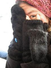 knitted mitten hello