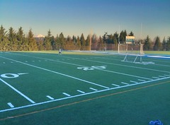Playing soccer at Nautilus Backyard football field in Vancouver WA