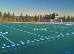 Playing soccer at Nautilus Backyard football field in Vancouver WA
