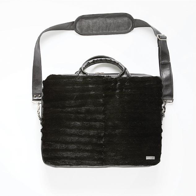 Harricana recycled fur laptop bag 1