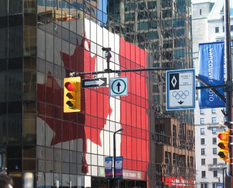reflection of the giant Canadian flag