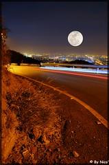 Full moon tonight !     ...[explored]... (NiCo' ( vip2pak ) - Nicolas TARIQ) Tags: world park new trip travel blue pakistan light red sky moon art cars beautiful night turn nikon long exp