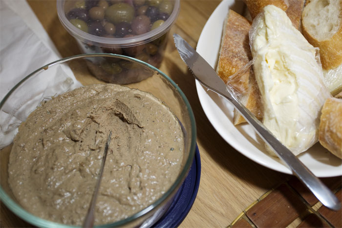 chicken liver pate and cheese