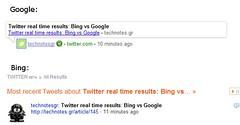 google vs bing while fetching a tweet