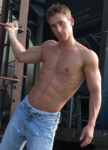 Cute muscle male model hot muscular man shirtless hang out
