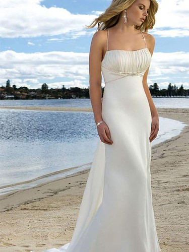 Beach wedding dresses features beading