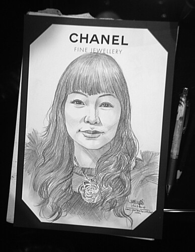 Portrait live sketching for Chanel Fine Jewellery Exhibition Day 1 - 7