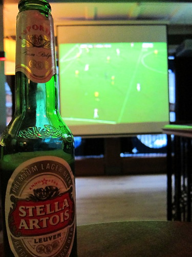 Drinking a Stella Artois and watching Arsenal v Hull City